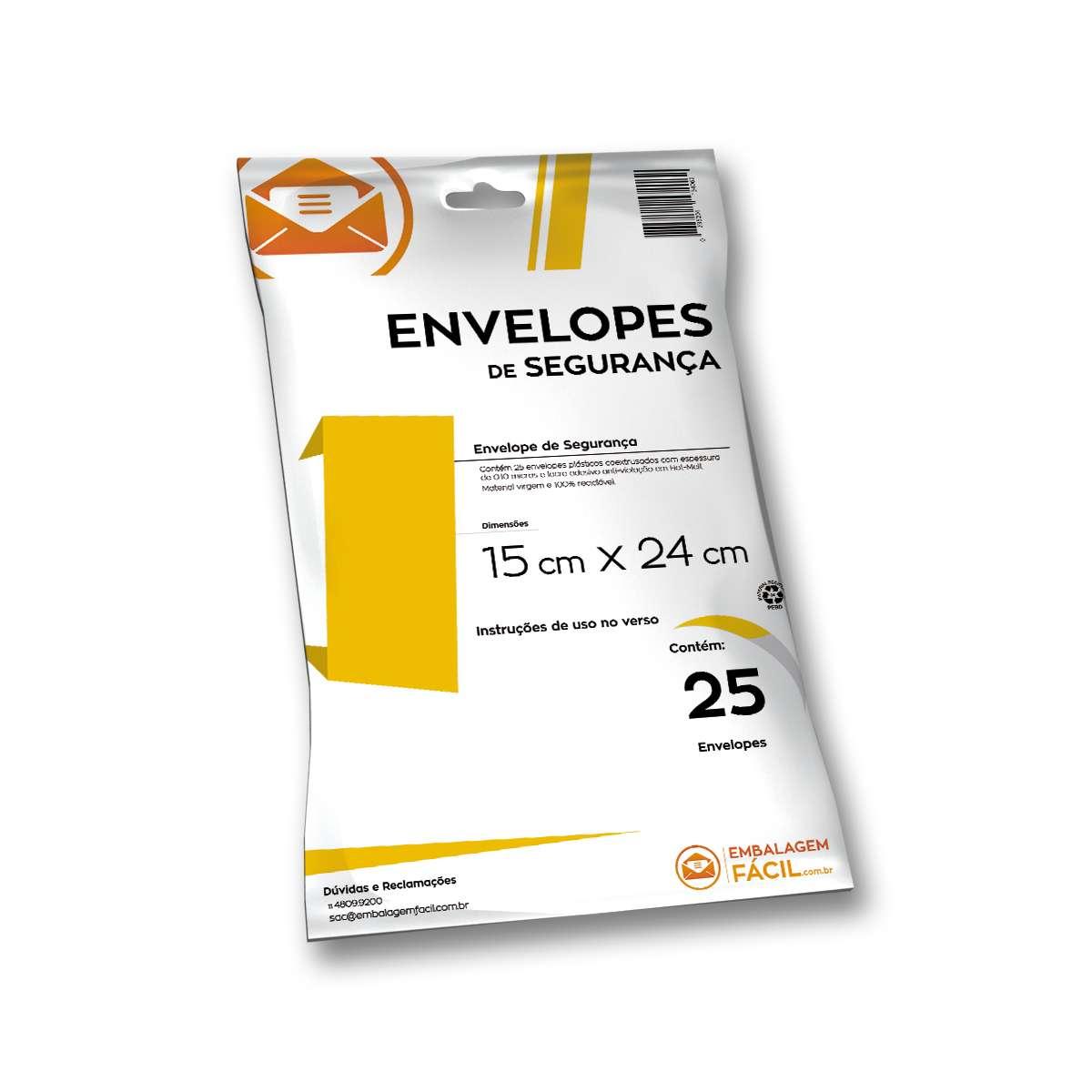ee1c956ca Envelope Plástico de Segurança 15 x 24 cm - 25 unidades