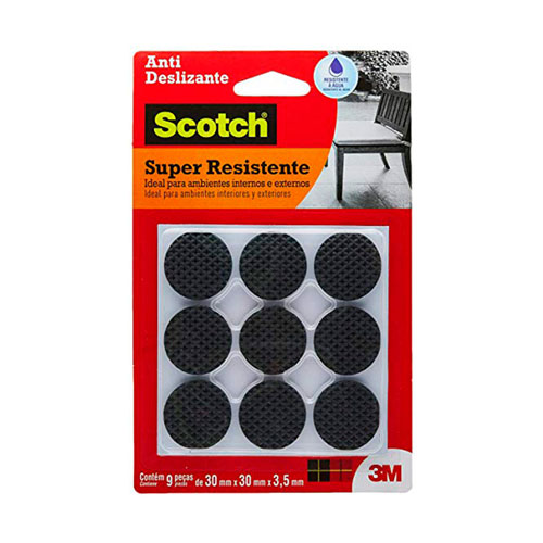 Feltro Anti Deslizante Redondo 3M Scotch Brite 30mm C/ 9 und